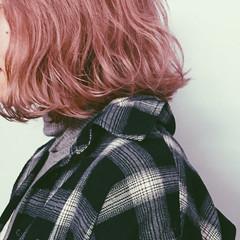 ボブ ベージュ 暗髪 ピンク ヘアスタイルや髪型の写真・画像