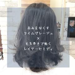 前髪 ストレート ミディアム ナチュラル ヘアスタイルや髪型の写真・画像