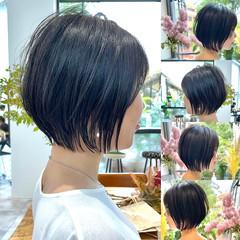 ミニボブ ショートボブ 切りっぱなしボブ ベリーショート ヘアスタイルや髪型の写真・画像