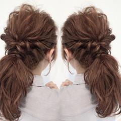 ポニーテール 結婚式 セミロング まとめ髪 ヘアスタイルや髪型の写真・画像