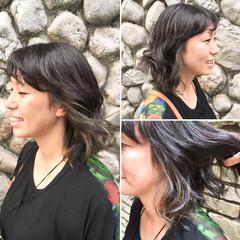インナーカラー イルミナカラー 秋 ミディアム ヘアスタイルや髪型の写真・画像