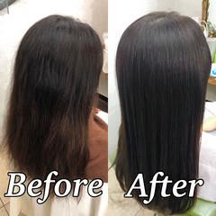 セミロング 縮毛矯正 ツヤ髪 ナチュラル ヘアスタイルや髪型の写真・画像