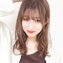 大人かわいい アンニュイほつれヘア セミロング デジタルパーマ ヘアスタイルや髪型の写真・画像