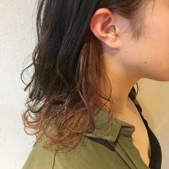 オレンジ ミディアム アプリコットオレンジ オレンジベージュ ヘアスタイルや髪型の写真・画像