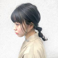 ヘアアレンジ ナチュラル インナーカラー ミディアム ヘアスタイルや髪型の写真・画像