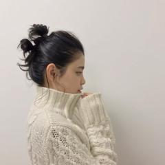 ミディアム ヘアアレンジ 黒髪 福岡市 ヘアスタイルや髪型の写真・画像