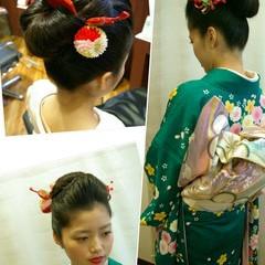 黒髪 ヘアアレンジ ミディアム 成人式 ヘアスタイルや髪型の写真・画像
