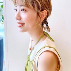 ナチュラル ヘアアレンジ 簡単ヘアアレンジ 紐アレンジ ヘアスタイルや髪型の写真・画像