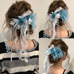 ヘアアレンジ リボン 編み込みヘア ロング ヘアスタイルや髪型の写真・画像
