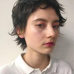 フリンジバング ナチュラル 黒髪 ショート ヘアスタイルや髪型の写真・画像