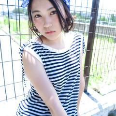 ストリート 夏 透明感 ショート ヘアスタイルや髪型の写真・画像