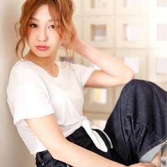 簡単ヘアアレンジ ロング パーマ ショート ヘアスタイルや髪型の写真・画像