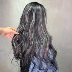 ホワイトハイライト モード コントラストハイライト ロング ヘアスタイルや髪型の写真・画像
