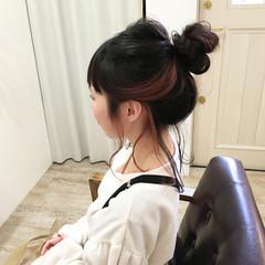 インナーカラー ヘアアレンジ レッド ミディアム ヘアスタイルや髪型の写真・画像