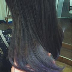 ストリート ダブルカラー 秋 セミロング ヘアスタイルや髪型の写真・画像