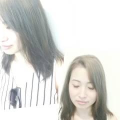 アッシュ セミロング ハイライト 夏 ヘアスタイルや髪型の写真・画像