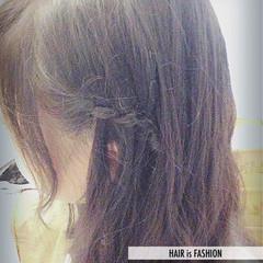 編み込み ウォーターフォール ゆるふわ セミロング ヘアスタイルや髪型の写真・画像