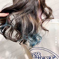 モード セミロング ポイントカラー ヘアスタイルや髪型の写真・画像