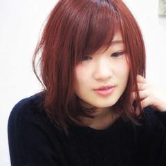 艶髪 ベリー 冬 ミディアム ヘアスタイルや髪型の写真・画像