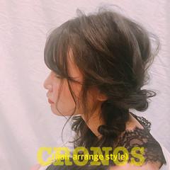 フェミニン セミロング 結婚式 オフィス ヘアスタイルや髪型の写真・画像