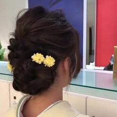 まとめ髪 結婚式 謝恩会 セミロング ヘアスタイルや髪型の写真・画像