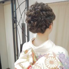 ヘアアレンジ くるりんぱ ミディアム 編み込み ヘアスタイルや髪型の写真・画像