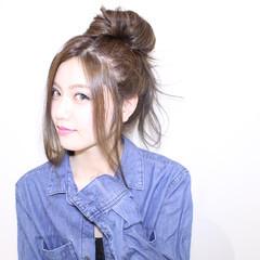 ゆるふわ 簡単ヘアアレンジ ベージュ ガーリー ヘアスタイルや髪型の写真・画像