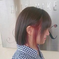 ガーリー ボブ ダブルカラー インナーカラー ヘアスタイルや髪型の写真・画像