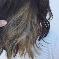 モード 外国人風 セミロング インナーカラー ヘアスタイルや髪型の写真・画像