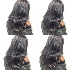 黒髪 ガーリー ロング ハイライト ヘアスタイルや髪型の写真・画像