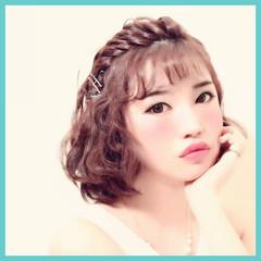 簡単ヘアアレンジ ショート 外ハネ ヘアアレンジ ヘアスタイルや髪型の写真・画像