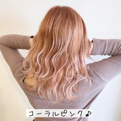 セミロング ガーリー ピンク ブリーチ ヘアスタイルや髪型の写真・画像
