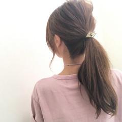 簡単ヘアアレンジ ローポニーテール ヘアアクセ 夏 ヘアスタイルや髪型の写真・画像