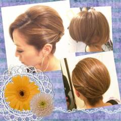 アップスタイル 夜会巻 ヘアアレンジ 結婚式 ヘアスタイルや髪型の写真・画像