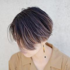 外国人風カラー ショート 3Dハイライト ハンサムショート ヘアスタイルや髪型の写真・画像