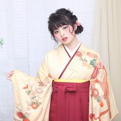 袴 黒髪 ガーリー ロング ヘアスタイルや髪型の写真・画像