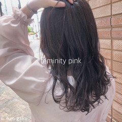 イルミナカラー ナチュラル ロング ピンク ヘアスタイルや髪型の写真・画像