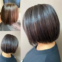 ショートヘア 髪質改善 ボブ 切りっぱなしボブ ヘアスタイルや髪型の写真・画像