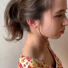 ミディアム ヘアアレンジ ポニーテールアレンジ セルフアレンジ ヘアスタイルや髪型の写真・画像
