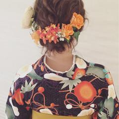パーマ パーティ ヘアアレンジ ガーリー ヘアスタイルや髪型の写真・画像