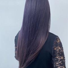 ピンクバイオレット 暗髪 暗髪バイオレット ナチュラル ヘアスタイルや髪型の写真・画像