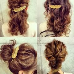 フェミニン ルーズ ヘアアレンジ フィッシュボーン ヘアスタイルや髪型の写真・画像