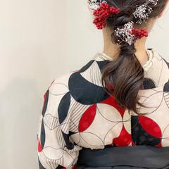 ガーリー ミディアム ヘアセット 編みおろし ヘアスタイルや髪型の写真・画像