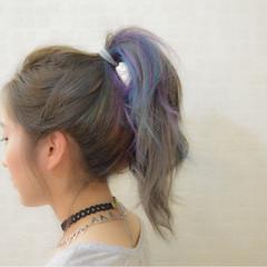 ショート ガーリー ストレート メッシュ ヘアスタイルや髪型の写真・画像