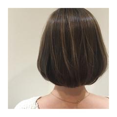 アッシュ 艶髪 外国人風 ボブ ヘアスタイルや髪型の写真・画像