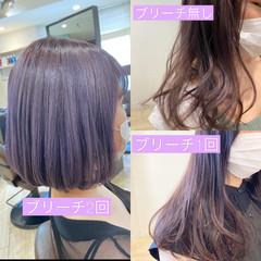 ラベンダーアッシュ ラベンダーピンク ミディアム ブルーラベンダー ヘアスタイルや髪型の写真・画像