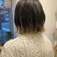 外国人風カラー 切りっぱなしボブ カジュアル グラデーションカラー ヘアスタイルや髪型の写真・画像