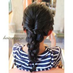 黒髪 ミディアム 簡単ヘアアレンジ 子供 ヘアスタイルや髪型の写真・画像