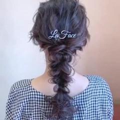ヘアアレンジ 編みおろし ロング お呼ばれ ヘアスタイルや髪型の写真・画像