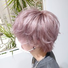ブリーチカラー メンズヘア ショート メンズカラー ヘアスタイルや髪型の写真・画像